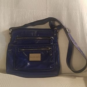 Franco Sarto Blue Three Zipper Crossbody Bag